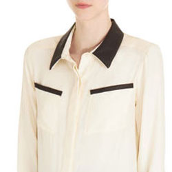 leather trim silk blouse
