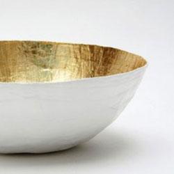 paper mache bowl white and gold the mini