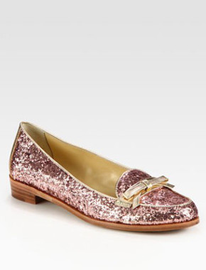 Cora Glitter-Coated Leather & Metallic Loafers, Kate Spade New York
