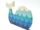 BLUE PAINTED WHALE WOOD PUZZLE WITH WAVES