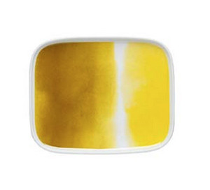 Marimekko Oiva Yellow and White Rectangular Plate