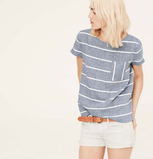 Lou & Grey Striped Chambray Tee