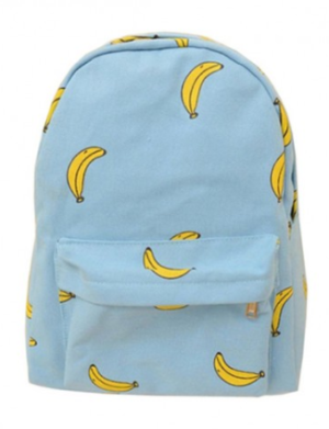 Preppy Style Banana Print Contrast Color Canvas Backpack
