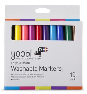Yoobi 10ct Washable Markers - Multicolor