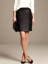 Pieced Faux-Leather Pencil Skirt