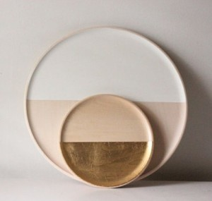 Dipped White Tray - Natural Wood