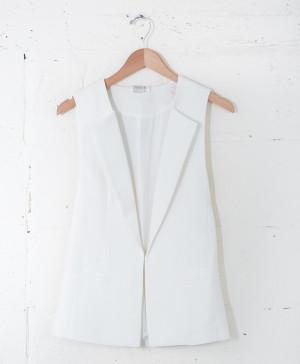 Aryn K White Vest via Parc Boutique