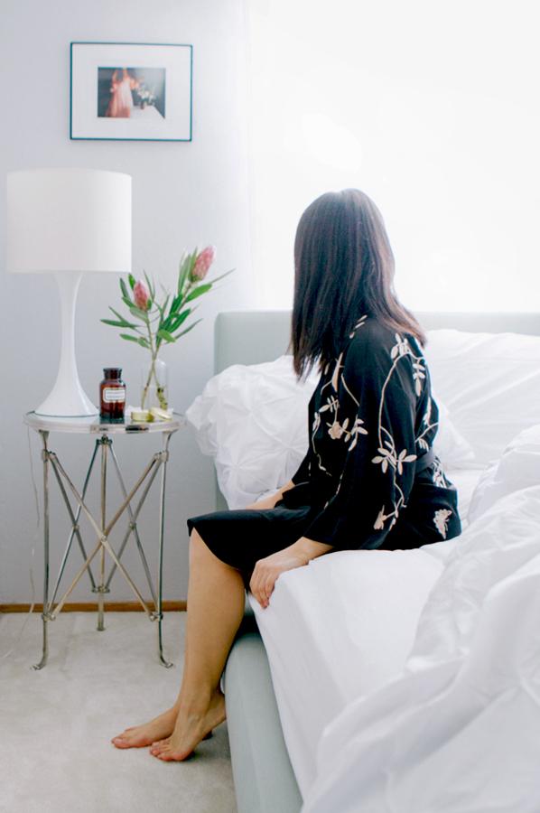 girl on bedside
