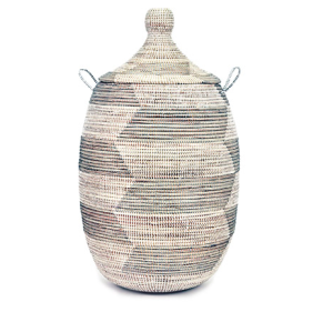 Woven African Laundry Clothes Hamper - Silver Herringbone - Large