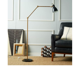 Industrial Task Floor Lamp – Black + Brass