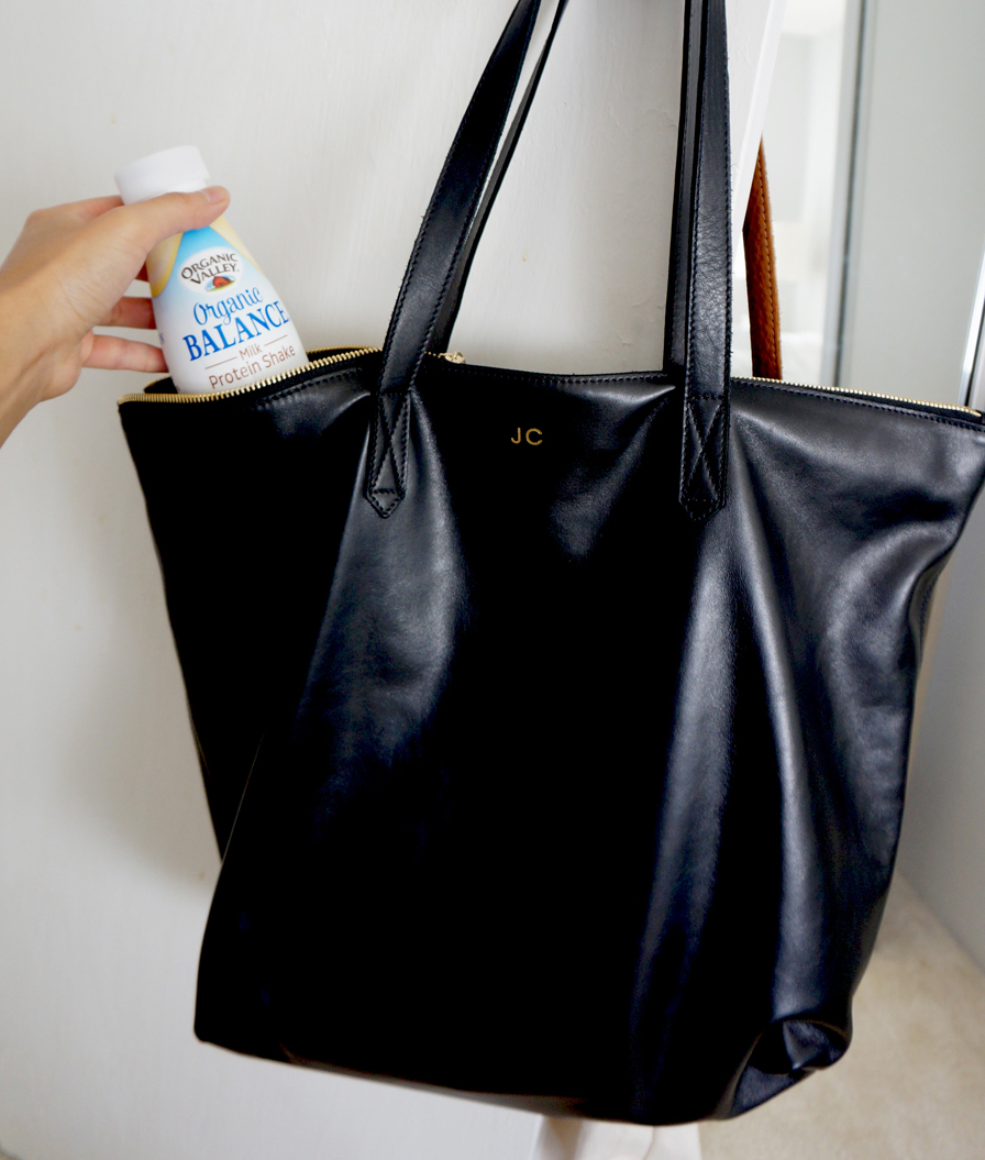 smooth black leather tote