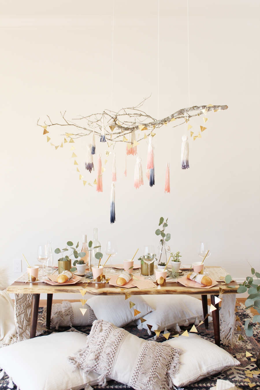 cozy home decor diy dip dye tassel chandelier shop sweet things. Black Bedroom Furniture Sets. Home Design Ideas
